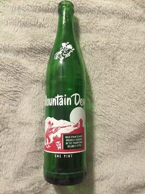 Vintage Hillbilly Mountain Dew One Pint Soda Bottle With Great Painted Graphics