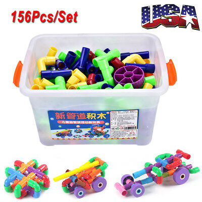 US Plastic Toy Pipes Pipeline Changeable children DIY game building blocks 1 Box