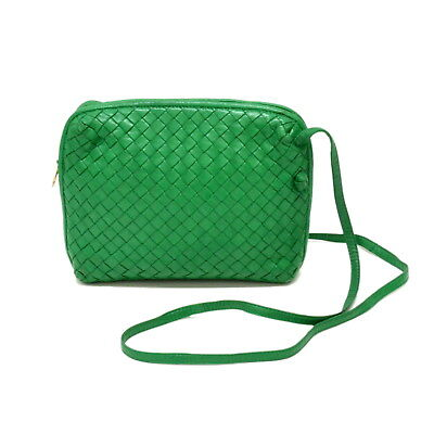 13aa591634 Authentic Bottega Veneta Intrecciato Lamb Leather Shoulder Crossbody Bag  Green
