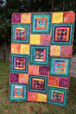 Handmade patchwork quilt - Scrappy Batik Quilt, bamboo batting, single bed size