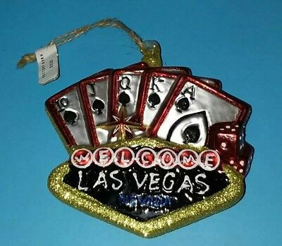 Welcome to Las Vegas Holiday Tree Glass Ornament NEW  RPG48KY (DW3A)