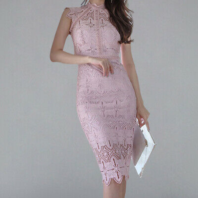 Women Sexy Elegant Lace Hollow Out Pencil Dress 2019 New Fitted Solid Sheath