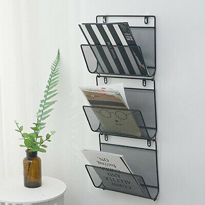 Triangle Wire Magazine Rack Wall Mounted Bookshelf Bookcase Post Mails Bin