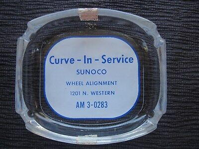 """Vintage Sunoco """"Curve-In-Service"""" Glass Ashtry~Advertisment Ad"""