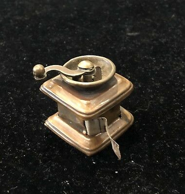 Antique Miniature Figural Brass Coffee Grinder Sewing Tape Measure
