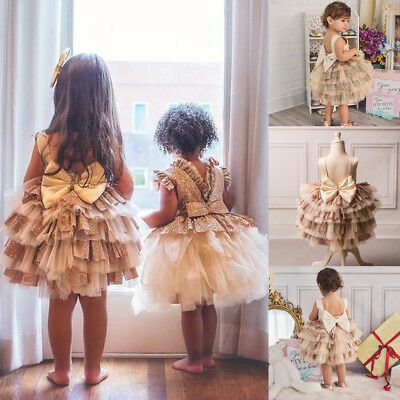 Newborn Infant Baby Flower Girls Party Princess Lace Tutu Kids Bow Wedding Dress