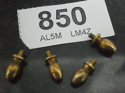 Set of FOUR SOLID BRASS FEET 13mm Tall, 7mm Diam. clock cabinet box mantle