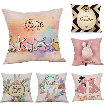 Flax Bunny Pillowcase Easter Decoration Rabbit Eggs Pattern Pillow Cover Textile
