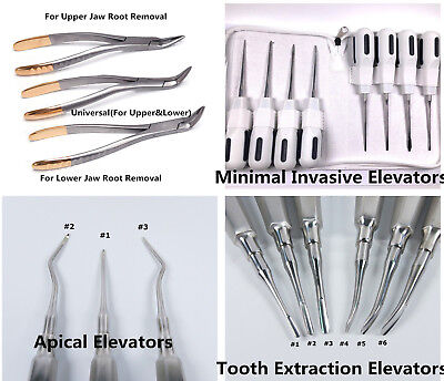 Dental Tooth Root Extraction Extracting Apical Elevators Upper Lower Forceps