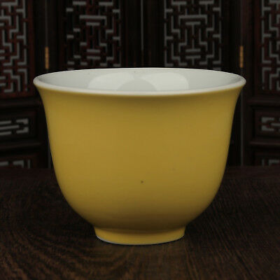 China antique Porcelain Ming xuande yellow glaze gongfu Wine Glass tea cup