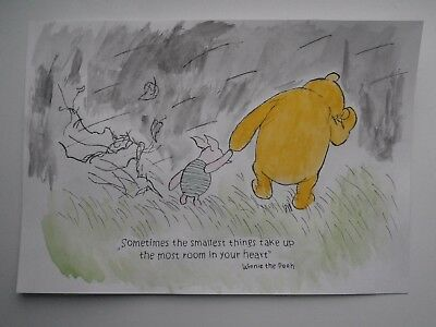 """Aquarell """"Winnie the Pooh"""" art watercolor painting Shepards reproduction"""