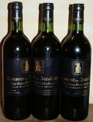 3 Bt Couvent des Jacobins St Emilion GCC rouge 75 cl 1983 Dom. Joinaud-Borde