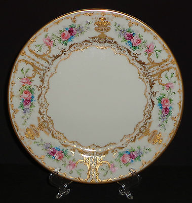 Antique Limoges Porcelain Plate Hand Painted Gold Roses Flowers Victorian France