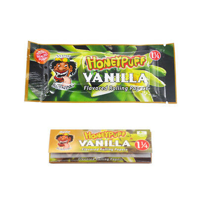 2 booklets HONEYPUFF 78 MM VANILLA Flavored Rolling Papers Slow Burning 1 1/4