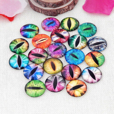 10Pcs Mixed Colour Round Glass Animal Eyes Cabochons For Craft Jewellery Making