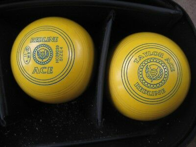 Quality Set Of  ' Redline Taylor Ace ' Lawn Bowls Size 4 Pre- Owned