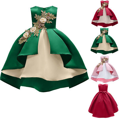 Flower Girl Princess Pageant Wedding Party Formal Birthday Kids Dress Age 2-9Y