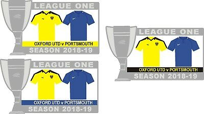 Oxford Utd v Portsmouth League One Matchday Badge 2018-19