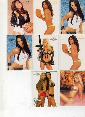 Collection of 8 Benchwarmer girl trading cards 2002-2003
