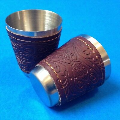 SHOT GLASSES -Two x Matching Aluminium  With Embossed Faux Leather Sleeves - New