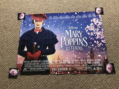 "DISNEY Mary Poppins Returns 2018 UK cinema quad poster DS 30x40"" NEW Emily Blunt"