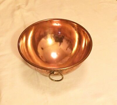 Antique Or Vintage Copper Mixing Bowl, Rolled Rim, Solid Brass Ring. Stamped