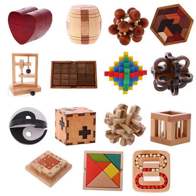 Wooden Intelligence Toy Chinese Brain Teaser Game Toy 3D Puzzle For Kids Opulent