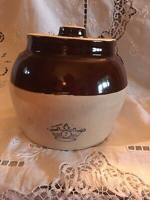 Vtg Blue Crown #2 Pottery Stoneware Brown Beige Bean Pot with Handle and Lid