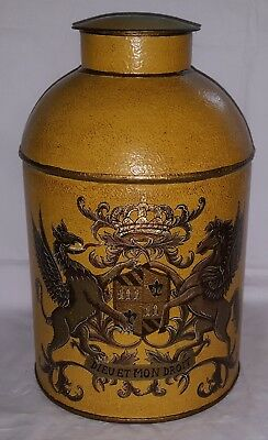 Yellow toleware metal vintage Victorian antique large storage canister jar