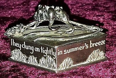 Silver plate vintage Art Deco antique small trinket ring box