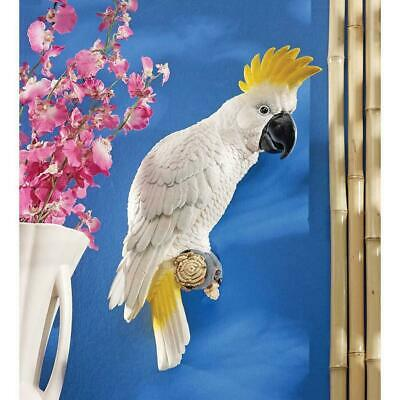 White Sulphur-Crested Cockatoo Parrot Wall Sculpture Statue Figurine Tropical ()