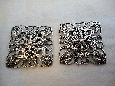 Beautiful Pair Of Antique Victorian  Solid Silver Square Shoe Buckles