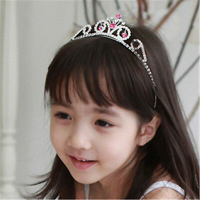 Red Rhinestone Hollow Princess Crown Headwear Tiara Girl Kids Hair Accessory