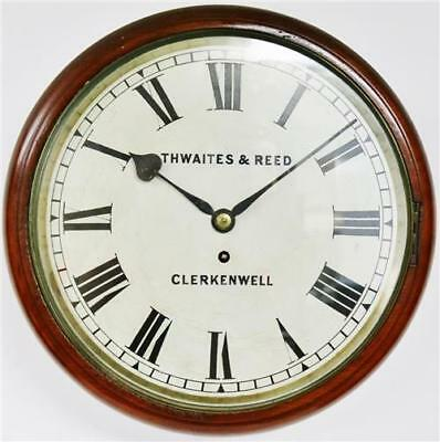 Fine Antique English 8 Day Thwaites & Reed Single Fusee Station Dial Wall Clock