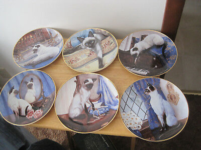 6 Franklin Mint Heirloom Collection Siamese Cat Plates. Porcelain