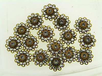 Swar Brass Metallic Silver Mirror Clear Crystal Prong Layer Burst Findings