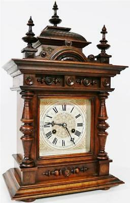 Antique Junghans Carved Bracket Clock 8 Day Striking Architectural Mantel Clock