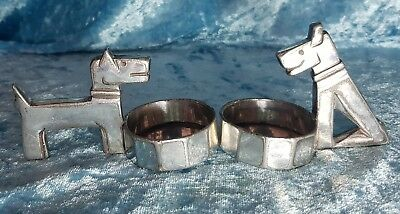 Pr.1920'S French Art Deco Christofle ''Gallia' S/Plated 'Fox Terrier Dogs' Salts