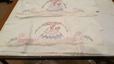 Vintage Hand Embroidered Pillowcases set with Crocheted Edge Southern Belle