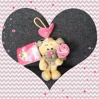 Peluche Doudou Diddl Ours Pimboli Fleur rose WITH LOVE Porte clef Neuf 10cm