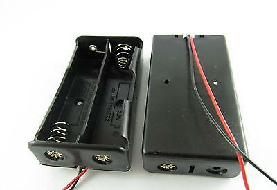"""Plastic Battery Storage Case Box Holder for 2 x 18650 Black with 6"""" Wire Leads"""