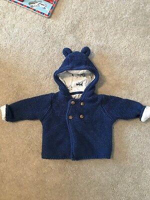 Marks & Spencer Baby Boy Navy Blue Knitted Bear Ears Cardigan 0-3 Months