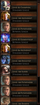 PATH OF EXILE PoE PC Account Headhunter 10xMirror 10xEternal 5 Lvl 100  Character