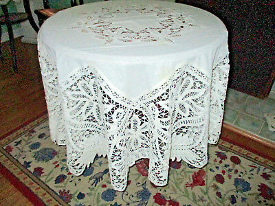 """Vintage Handmade Bettenberg Lace Tablecloth  64"""" Round"""