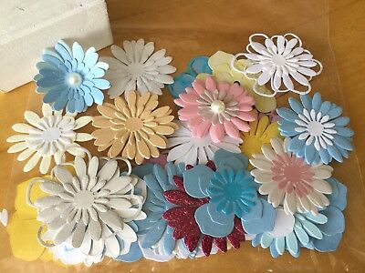 Flowers Card Making Scrapbook Embellishments Paper Craft X 40 mixed colours