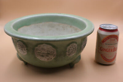 Antique Chinese/Janpanese Porcelain Plain Green with White Flower Plant Pot
