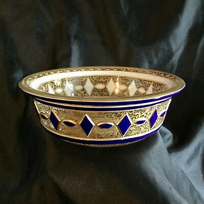 Antique Moser Glass Bowl,hand  Carved Glass Enamel And Gold On Both Sides.