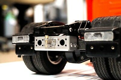 Trailer coupling, rear hook with plate for 1/14 trucks and trailer tamiya INOX