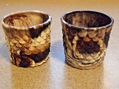 Pair of Victorian Malachite glass tumblers c 1880