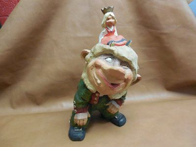 """Vintage 11"""" Henning Norway Troll Gnome Hand Carved & Painted Princess on Head"""